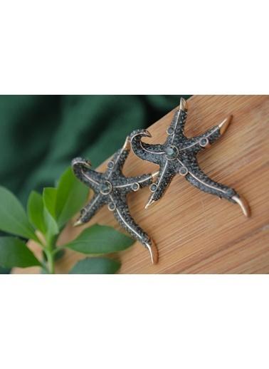 Stoneage Deniz Yıldızı Bayan Bronz Küpe Taş Zirkon Bronz